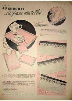 Revue Vintage « Le Petit Echo De La Mode » décembre 1952 avec patrons gratuits tricot, crochet, couture…  Bordures au crochet