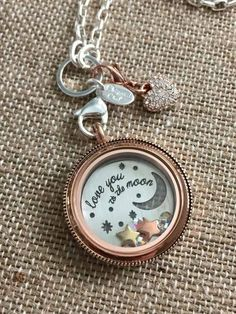 """Is there someone who you """"love to the moon ... and back""""? Our new plate expresses that sentiment beautifully. On the back side of the plate is """"and back""""  #origamiowl #loveO2 #loveyoutothemoon #locket"""