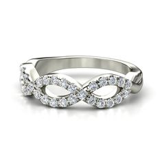 Platinum Ring with Diamond - Brilliant Infinity Twist Band (3 Loops) : Right Hand Ring