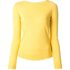 Zanone button fastening sweater (€110) ❤ liked on Polyvore featuring tops, sweaters, long sleeves, shirts, yellow, yellow long sleeve shirt, long sleeve sweaters, long-sleeve shirt, button sweater and yellow top