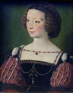 Francois Clouet, Beatrix Pacheco. Paris 1572 She  was lady-in-waiting of Queen Eleanore, wife of    King François I, and daughter of the Duke of Escalona (sic. ed: actually great-  granddaughter of the past duque).
