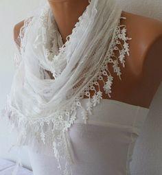 White Lace Scarf Shawl Scarf