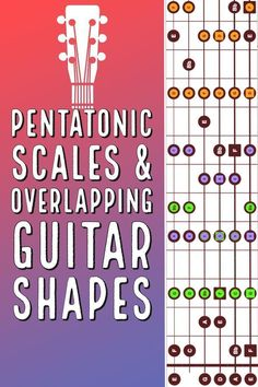 Pentatonic scale shapes for guitar including how they overlap across the neck in any key. Includes shapes and Free PDFGuitar lesson. Guitar Chords And Scales, Learn Guitar Chords, Guitar Chord Chart, Music Chords, Acoustic Music, Acoustic Guitars, Guitar Quotes, Guitar Songs, Ukulele Art