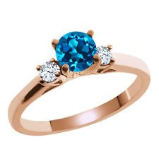 0.71 Ct Round London Blue and White Topaz 925 Rose Gold Plated Silver Ring