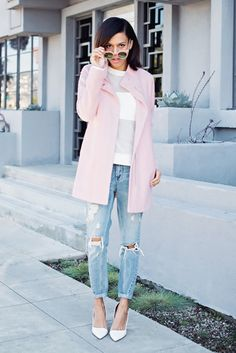 Pale pink coat + mesh sweater + boyfriend jeans via Style Me Grasie