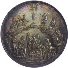 Franz Joseph I. 1848 - 1916 AR Taufmedaille o. J. Silber Av: die Geburt Christi, darüber die Hirten mit den Schafen, der Komet u. die heiligen Dreikönige, Rv: Taufe Christi