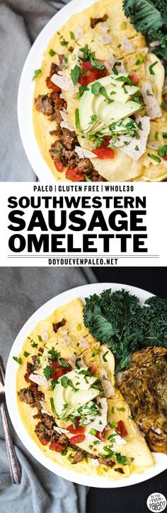 Not your average healthy breakfast recipe - this spicy southwestern sausage omelette is packed with protein and veggies! A paleo recipe, clean eating, gluten free, and Whole30 recipe. Topped with salsa, avocado, and paleo tortilla chips to make it extra fun. | DoYouEvenPaleo.net #paleo #glutenfree #whole30