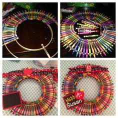 Teacher Appreciation Gift - crayon wreath