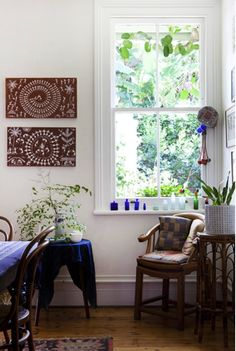 Dining room – Ochre abstract paintings by by Warli indigenous tribe from India. All Photographs - Felix Forest, styling / production – Lucy Feagins / The Design Files. Just Dream, My Dream Home, Bentwood Chairs, Home On The Range, The Design Files, Dining Room Design, Inspired Homes, Living Area, Living Rooms