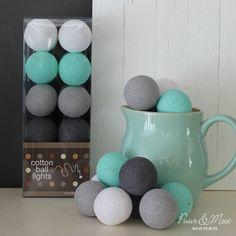 Cotton Ball Lights Mint/Grijs