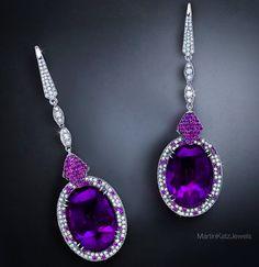 Martin Katz diamonds and amethyst earrings.