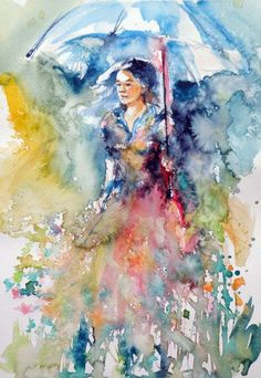 ARTFINDER: Girl on field by Kovács Anna Brigitta - Original watercolour painting on high quality watercolour paper. I love landscapes, still life, nature and wildlife, lights and shadows, colorful sight. Thes...