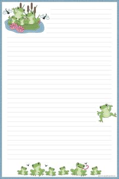 Free Printable Frog Stationary - Bing Images Printable Lined Paper, Free Printable Stationery, Stationery Craft, Free Printables, Pocket Letter, Digital Paper Free, Cute Journals, Journal Paper, Paper Frames