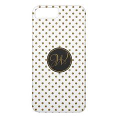 Cool White Gold Glitter Polka Dots With Monogram iPhone 8 Plus/7 Plus Case - girly gift gifts ideas cyo diy special unique