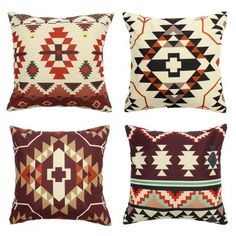 Meigar Aztec Geometric Abstract Linen Cotton Cushion Cover for Pillow Decorative Throw Pillow Case Cover for Couch Aztec Pillows, Diy Pillows, Linen Pillows, Custom Pillows, Decorative Throw Pillows, Better Homes And Gardens, Aztec Decor, Couch Cushion Covers, Turquoise