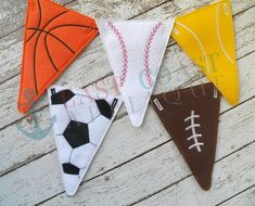 These All Star Sport Pennants are perfect for tailgating, parties or to decorate your childs room. You can stitch them up in vinyl, felt or Sports Themed Birthday Party, Sports Party, Birthday Parties, Applique Designs, Machine Embroidery Designs, Embroidery Thread, Theme Sport, Sports Theme Classroom, Stars Classroom