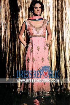 Blush Pink Moss, Product code: DR4569, by www.dressrepublic.com - Keywords: Pink Anarkali Dresses, Pink Anarkalee Dress, Pakistani Designer Anarkali Pishwas Dresses