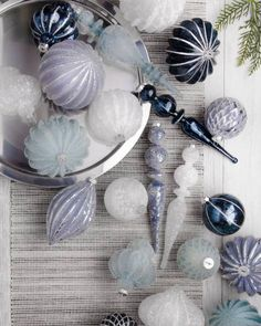 Give your Christmas tree the beauty of a wintry wonderland with our exclusive Midnight Frost Ornament Set. Available on Balsam Hill. Blue Christmas Decor, Shabby Chic Christmas, Black Christmas, Christmas Tree Decorations, Christmas 2019, Merry Christmas, Beaded Christmas Ornaments, Glass Ornaments, Realistic Christmas Trees