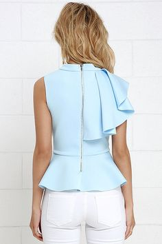 It's incredible how unforgettable you will be in the Forever More Light Blue Peplum Top! Poly-spandex, medium-weight knit hugs your silhouette from a mock neck, through a sleeveless bodice decorated with a cascading side ruffle. A peplum tier flares from the fitted waist for a flirty finish. Exposed silver back zipper.