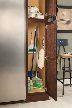 A utility cabinet provides for a myriad of uses, from a broom closet, to housing craft supplies, to becoming a mini-pantry.