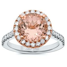 Halo Setting for Round Morganite Engagement Ring Buying Guide, Halo Engagement Rings, Rose Gold Morganite Ring, Halo Setting, Pink Gemstones, Morganite Engagement, White Gold, Jewelry, Planner Board