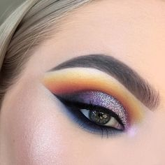 Makeup Geek Eyeshadows in Morocco, Fashion Addict, Motown, Masquerade, and Neptune. MAC Eyeshadow in Chrome Yellow. Anastasia Eyeshadow in Noir and Pink Heart. Look by abbeyparkemakeup