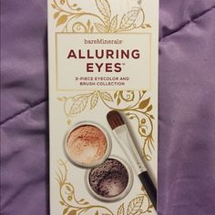 Bare minerals alluring eyes set Two beautiful eyeshadow with a brush. Never used, opened to see the colors. Great condition bareMinerals Makeup Eyeshadow