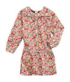 Girl's long-sleeved dress in flower print cotton satin