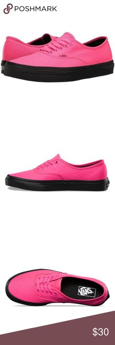 58ae50c673c Vans Authentic Black Outsole Neon Pink Canvas Vans Authentic Black Outsole Neon  Pink Canvas Shoes Size 11 Available -Men s size 11 (womens size US Vans ...