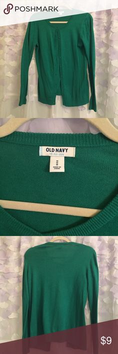 Old Navy Green Cardigan Only worn once by my mom this green cardigan is in excellent condition and is super cute for the spring and summer but color in the picture just doesn't do it justice it is a beautiful emerald green. Old Navy Sweaters Cardigans