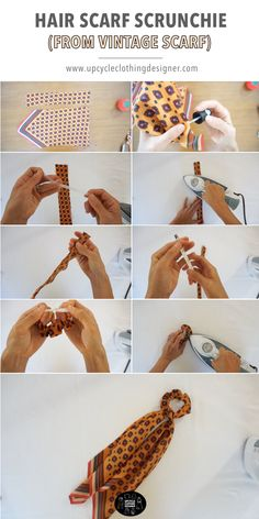Scrunchies are something every woman needs. Have you ever tried to DIY scrunchies? It's interesting and can make your scrunchies stand out. DIY Scrunchies are very simple and don't take too much time. To help you out, in this post, we have 38 Easy Diy Clothes Tutorial, Diy Clothes Refashion, Vintage Diy, Vintage Scarf, Vintage Ideas, Pelo Vintage, Vintage Crafts, Sewing Tutorials, Sewing Projects