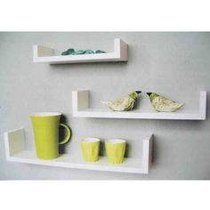 White Wall Mounted Shelves Wooden Floating