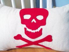 Skull and Crossbones Pillow Cover by lovebughandmade on Etsy, $25.00