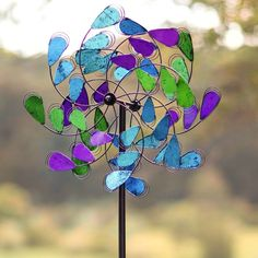 Garden Wind Spinner Kinetic Yard Sculpture Lawn Stake Peacock Colors Landscape #PHC