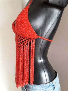 Halter crochet top bikini top red and silver top gipsy Coachella, Gypsy, Silver Tops, Crochet Crop Top, Boho, Bikini Tops, Crop Tops, Bikinis, Red