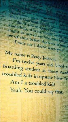 My name is Percy Jackson  Am I a troublew kid? Yeah. You could say that