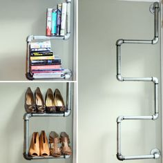 Industrial Pipe Bookshelf and Shoe Rack : 6 Steps (with Pictures) - Instructables Pipe Bookshelf, Plumbing Pipe Shelves, Bookshelves, Pipe Shelving, Industrial Design Furniture, Pipe Furniture, Furniture Design, Furniture Outlet, Cheap Furniture