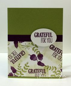 Grateful for You Card: For All Things Wood-Mount Stamp Set; Old Olive Ink; Blackberry Bliss Ink; Whisper White Card Stock; Old Olive Card Stock; Blackberry Bliss Cardstock; Extra-Large Oval Punch