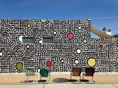 Palm Springs, CA This is the finished Aaron de la Cruz mural he's been creating at the Commune wall. It's part of our Desert Gold kickoff. T...