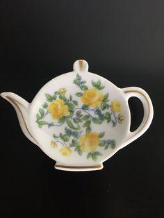 Yellow Floral Vintage Tea Bag Holder