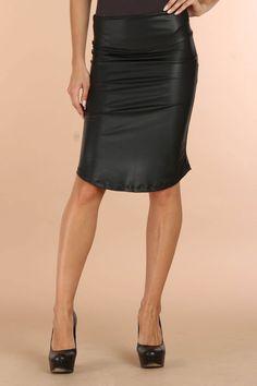 Chantal Paris Faux Leather Skirt  @Katie McFarland