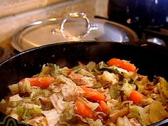 Braised Cabbage and Carrots from FoodNetwork.com; I cut the amount of cayenne in half and it was still quite spicy!  Yumm!!!