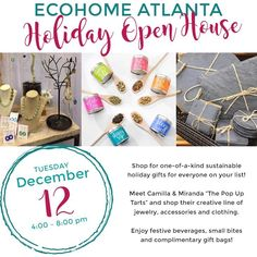 If you live in Atlanta drop by the EcoHome Atlanta holiday open house on Tuesday dec 12 4-8 pm! One-of-a-kind eco gifts for everyone including pets! Peachtree Battle Shopping Center next door to Chico's! @ecohomeatlanta #ecohomeatlanta #ecogifts #atlantagifts #christmasgift #stockingstuffers #greenholiday #naturalgifts #atlantaretail #gogreen #givegreen #sustainability #soycandles #ecobaby #healthykitchen #gadgets #solar #solarcharger #giftsforhim #petgifts #giftsforher #giftideas…