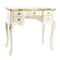 Escritorio Ariana 5 cajones madera blanco dorado vintage Vanity, Furniture, Home Decor, White Wood, White People, Vintage Homes, Wooden Drawers, Desktop, Dressing Tables