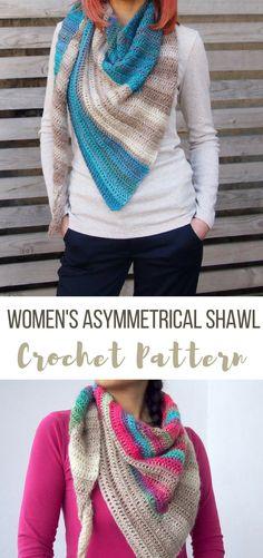 CROCHET PATTERN woman's asymmetrical shawl pattern, wrap, scarf, block shawl, #crochetshawlpattern #crochetscarfpattern #crochetwrappattern #affiliate #crochet