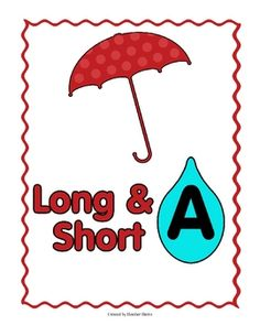 Umbrella and Raindrops! There is 1 file folder game for each vowel. Students sort raindrops by long or short sounds. 5 games in all! Short Vowel Games, Short Vowels, School Fun, School Days, School Stuff, Kids Reading, Teaching Reading, Learning, Word Study