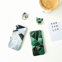 New Cut Patchwork Case For iPhone 7 7plus 6 6s 6 Plus 6s Plus Geometric Triangle Simple Designs with Ring Stand Stylish Cover