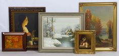 Lot 760: Painting and Print Assortment; Five items including three paintings and two prints; some are signed