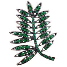Emerald Green Elm Tree Leaves Pin Brooch