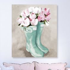 Flower Painting Discover Tulips In Spring Boots Watercolor Painting Print on Canvas Easy Canvas Painting, Diy Painting, Watercolor Art, Flower Painting, Art Painting, Spring Painting, Easter Paintings, Canvas Art, Cute Canvas Paintings